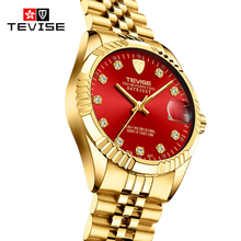 TEVISE Mens Watches Luxury Gold Tone Mal