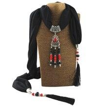 Jzhifiyer cotton linen women pendant scarf jewellery mujer shawls fringe 40x200cm hijab scarfs necklace beads shawl fashion