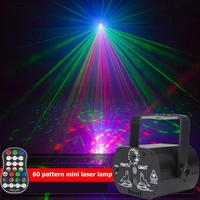 60 Patterns LED Stage Lights KTV Bar Flash USB Rechargeable Party Light RGB DJ Disco Projector Strobe Lamp With Remote Control