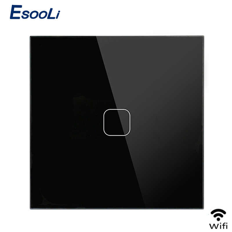 EsooLi EU/UK Standard Smart Home 1 Gang 1 Way Wall Touch Switch, Crystal Glass Switch Panel, 220-250V, wireless light switch