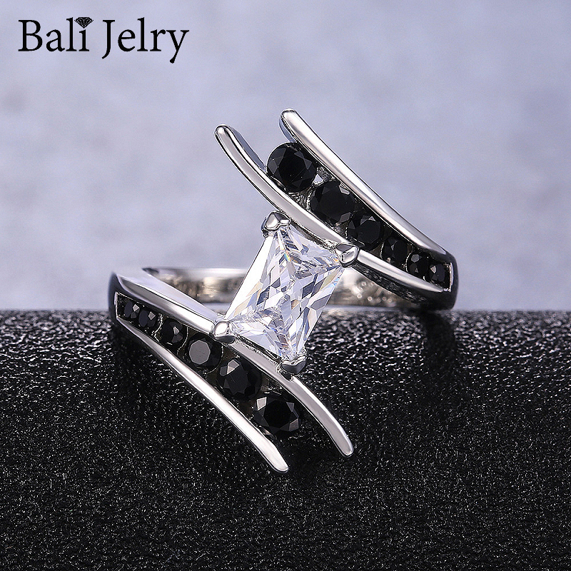 Fashion Silver Women Ring 925 Jewelry Ornaments Rings with Obsidian Zircon Gemstones Gifts for Wedding Promise Party Wholesale