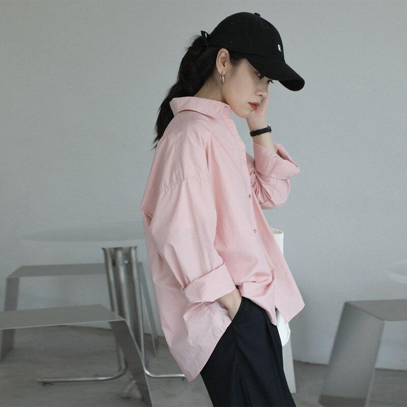 2021 Spring Summer Women Blouse Korean Long Sleeve Womens Tops Blouses  Solid Loose Women Shirts Blusas Roupa Feminina Tops 7