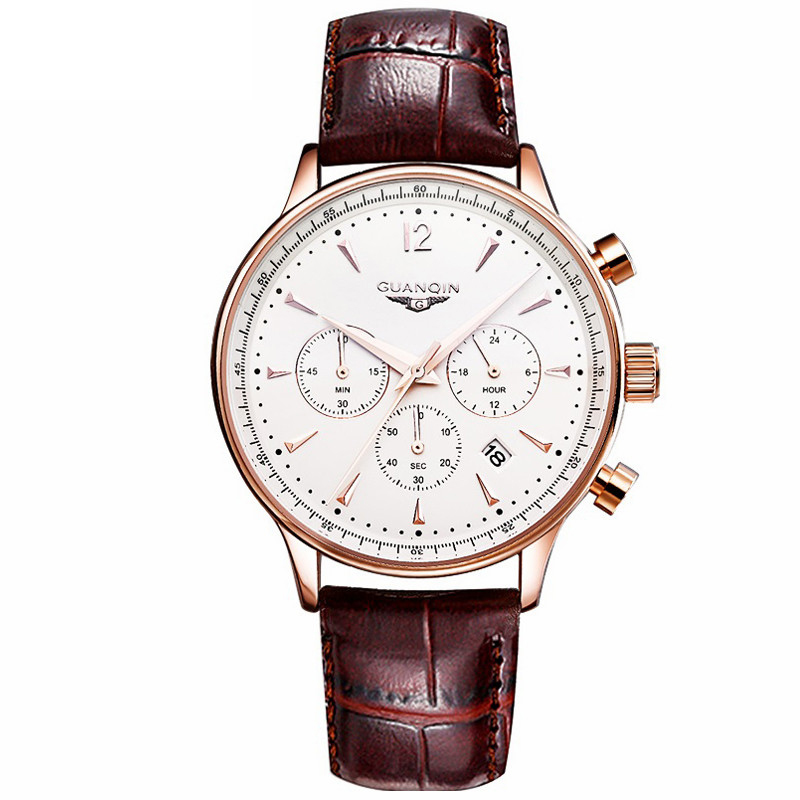 2020 New Automatic Mechanical Men Watch Original 3 Eyes Fashion Luxury Brand Leather Business Watches Relogio Masculino