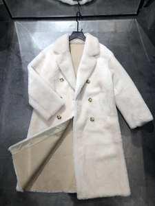 Jacket Coat Real-Fur-Coat Sheepskin-Leather Merino Plus-Size Women Fashion Double-Breasted