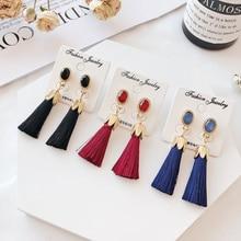 цены на TEH Korean Crystal Long Tassel Dangle Earrings For Women Jewelry Personalized Fashion Bohemian Statement Drop Earrings Female  в интернет-магазинах