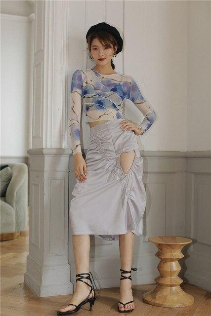 CHEERART Mesh Crop Top Long Sleeve T Shirt Women Printed Tshirt Transparent Ladies Tight Top Patchwork Summer Fashion 2020 3