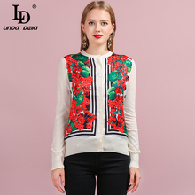 LD LINDA DELLA Runway Fashion Autumn Vintage Knitting Sweaters Womens Long Sleeve Floral Printed Lady Stylish Wool Cardigans