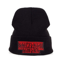 Knitted-Hat Movie Stranger Winter Black Wool-Cap Things Embroidery Gift Autumn Hot Fashion