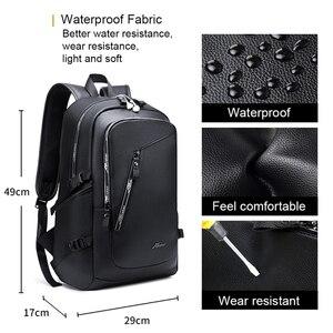 Image 3 - Мужской водонепроницаемый рюкзак из ПУ кожи, с USB зарядкой