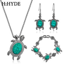 H:HYDE Green Stone Tortoise Jewelry Sets Sea Animal Turtle Pendant Necklace Bracelet Earrings For Women Antique Silver Jewelry(China)