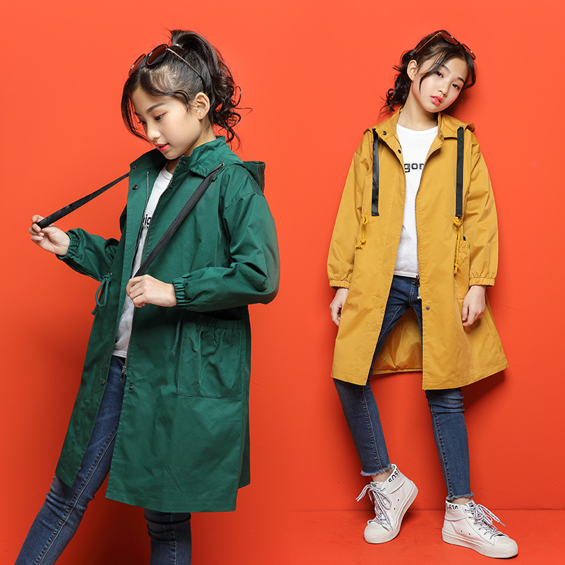 Big Girls Cotton Clothing Children Coat Teens Zipper   Trench   Two Colors Overcoats Child Spring Outwear Autumn Long Clothes CA211