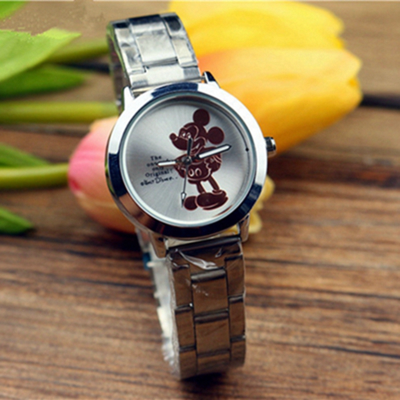 Disney Cartoon Watch Mickey Mouse Minnie Girls Boys Kids Student Quartz for Gift Aolly-Steel