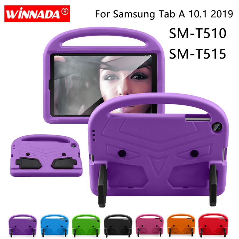 For Samsung SM T510 <font><b>Case</b></font> <font><b>Kids</b></font> <font><b>Tablet</b></font> Protecter cover shock proof EVA foam Hand-held Stand Cover for Galaxy Tab A <font><b>10.1</b></font> 2019 T515 image