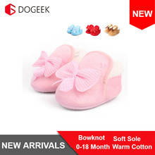 Winter Warm Baby Bowknot Soft Crib Shoes Cotton Sho