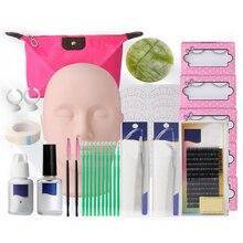 Kit dexercice pour Extension de cils, Kit de maquillage, ensemble doutils de greffe avec tête de Mannequin