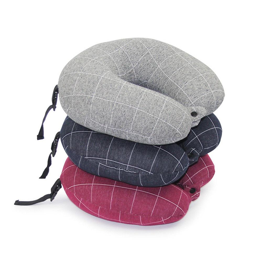 Portable Adjustable U Shape Travel Pillow Slow Rebound Memory Foam Home Office Nap Neck Car Aircraft Cushions