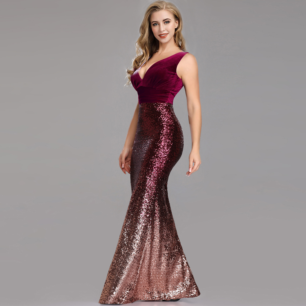 Sleeveless Backless Sexy Evening Dresses Elegant V-neck Velour & Sequin Fabric Mermaid Robe De Soiree Fashion Formal Dresses