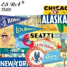 15 шт./компл. 6 ~ 14 см Ретро США города наклейки водонепроницаемые ПВХ туристические наклейки игрушки кувшин для ноутбука багаж журнал украшен...