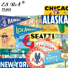 15 Pcs/Set 6~14cm  Retro USA Cities Stickers Waterproof PVC Travel Stickers Toys laptop Pitcher  Luggage Journal Decorate
