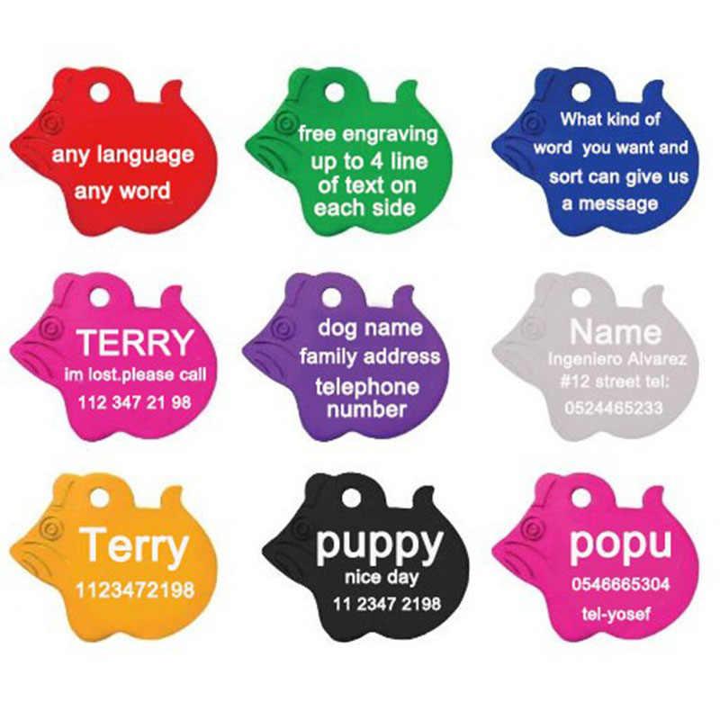 2 Pz/lotto Trasporto Libero Collare di Cane Personalizzati Incisione Testo Pet Id Tag Dog Dog Tag di Identificazione su Misura Nome Indirizzo Telefono