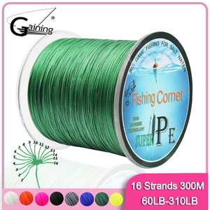 16 Strands Braided Fishing Line 300m Super Strong Japan Multifilament PE Braid Line 60LB-310LB 8 Colors for Choose