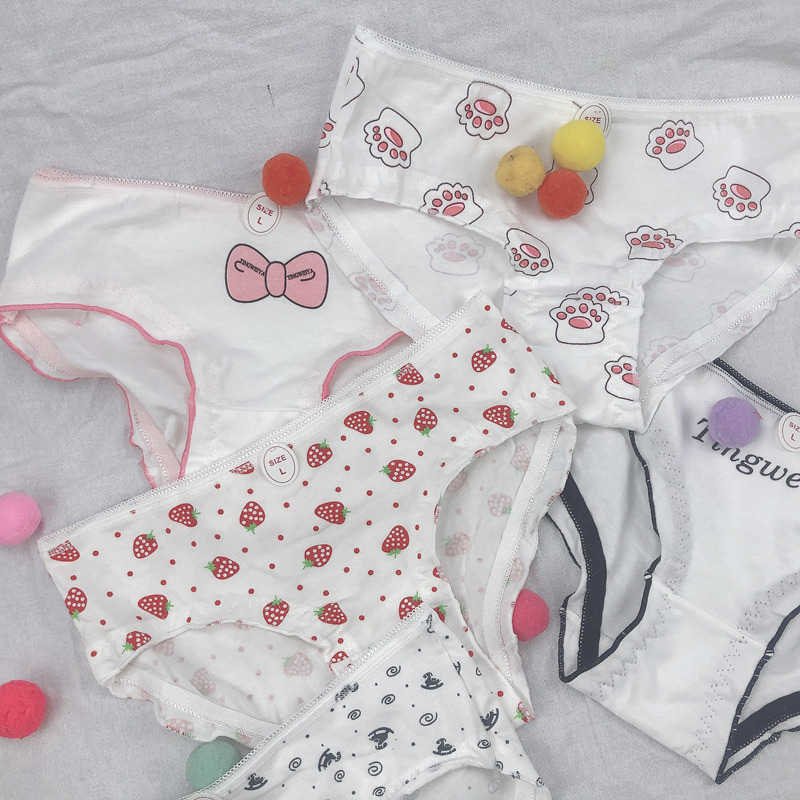 Cartoon Patterned Cotton Girls Cute Underwear Soft Breathable Animal Print Seamless Panties For Women Strawberry Briefs Lingerie