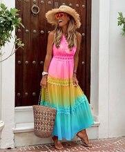 Felyn 2020 melhor qualidade famosa marca vestido arco-íris cor bordado verão praia maxi vestido vestidos