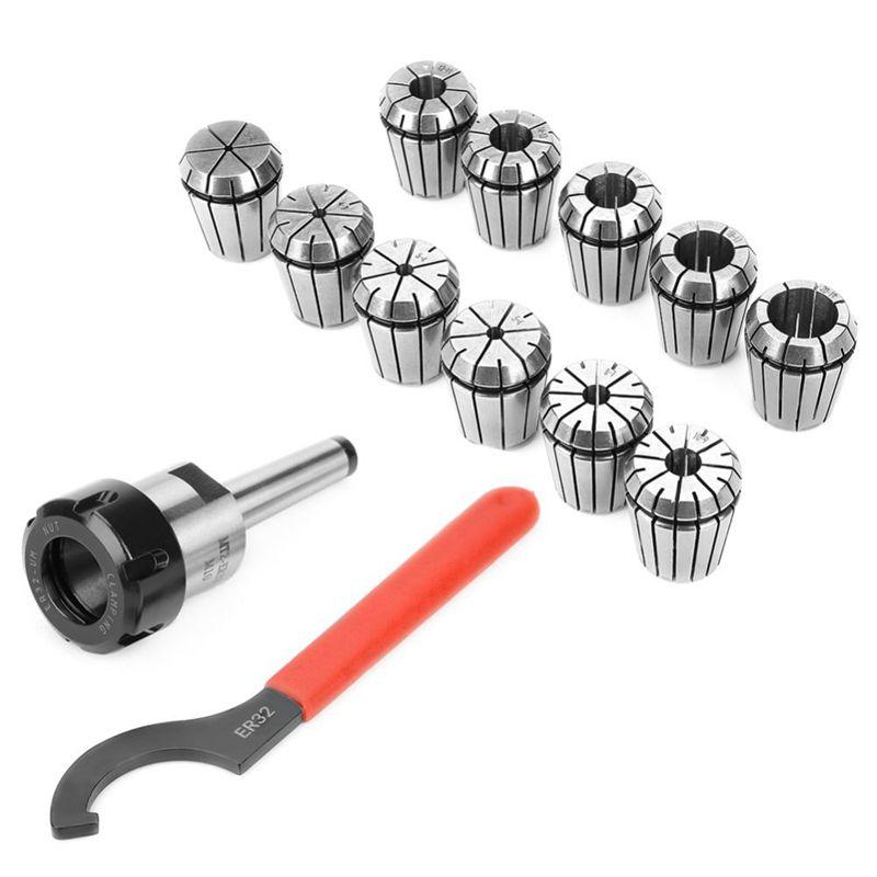 MT2 MT3 MT4 ER25 M10 M12 M16 ER25 Spring Clamps 9PCS +ER25 Wrench 1PCS Collet Chuck Morse Holder For CNC Milling Lathe Tool