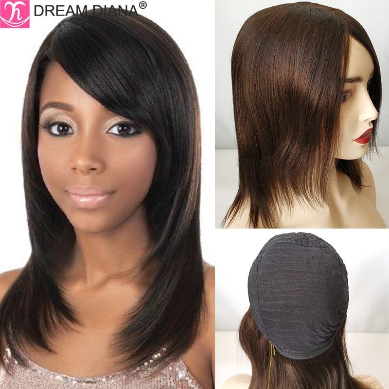 DreamDiana Brazilian Hair Wigs Remy Silky Straight Hair Wig Natural #2 100% Human Hair Bob Wig 150 Density Full Machine Made Wig
