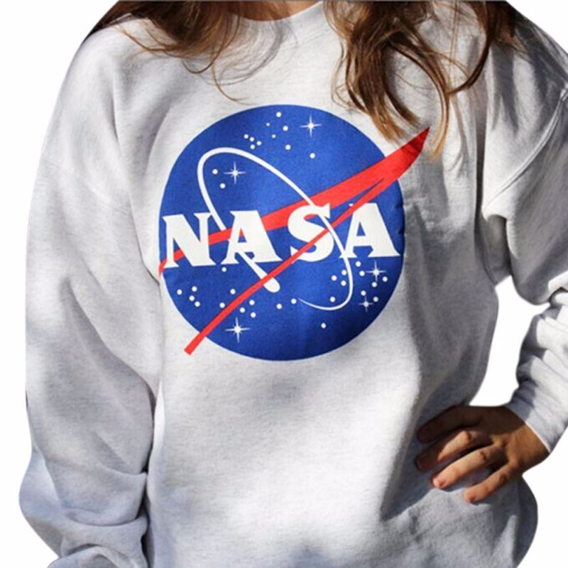 Harajuku New Graphic LOGO Space Galaxy Starry Space Round Neck Long-sleeved Sweatshirts Kpop Clothes Hoodies Women Winter Coat
