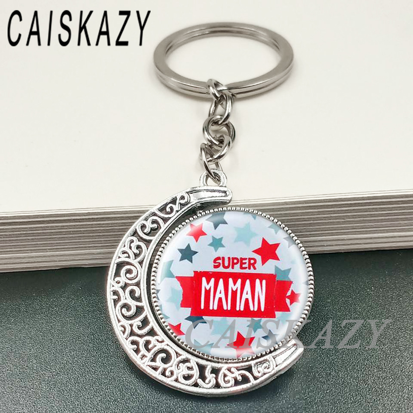 Beautiful Double-side Rotatable Moon Shap I Love My Mom Glass Cabochon Key Holder Super Mom  Keychain Mother's Day Gift