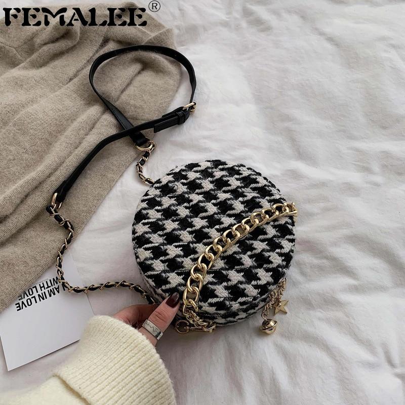 Fashion Circle Wool Handbags For Women Tweed Shoulder Bag Chains Handle Tote Ladies Purse Round Bags Tassel Zipper Messenger Bag