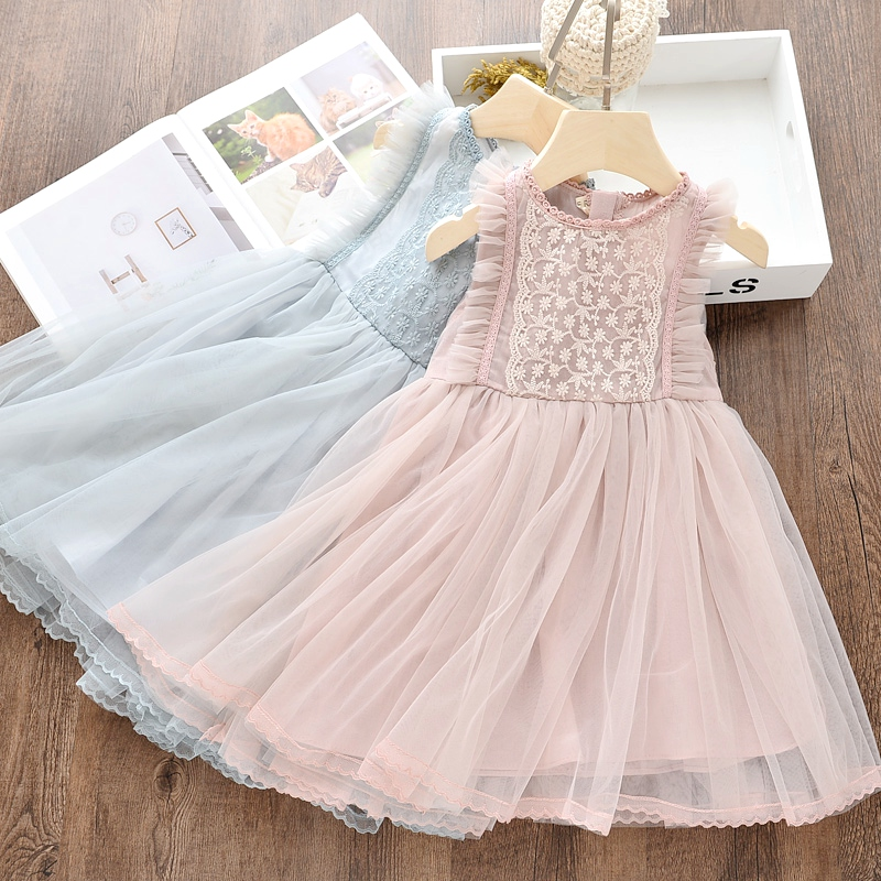 Fashion Baby Girls Princess Dress Lace Summer Style Children Sleeveless Dress Floral Party Clothing Kids Dress For Girls Clothes