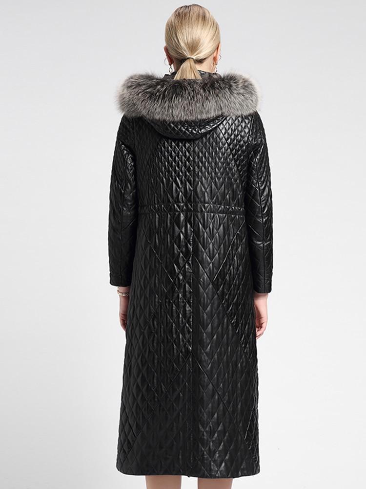 2020 Genuine Leather Jacket Women Real Fox Fur Collar Long Sheepskin Coat Leather Jackets Parka Cuero Genuino 6077 J3062