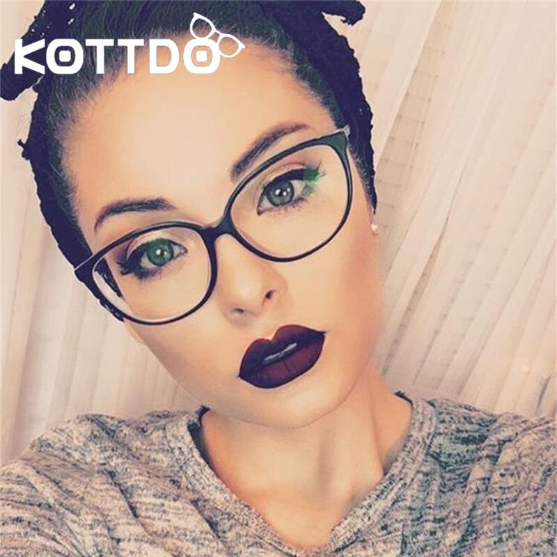 KOTTDO Fashion Women Cat Eye Eyeglasses Men Myopia Optical Glasse Frame Retro Eye Glasses Computer Transparent Frame Oculos