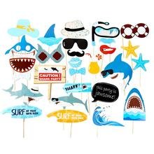 28pcs DIY Shark Birthday Photo Booth Props Jawsome Kids Boy Ocean Sea Themed Party Decorations Baby Shower