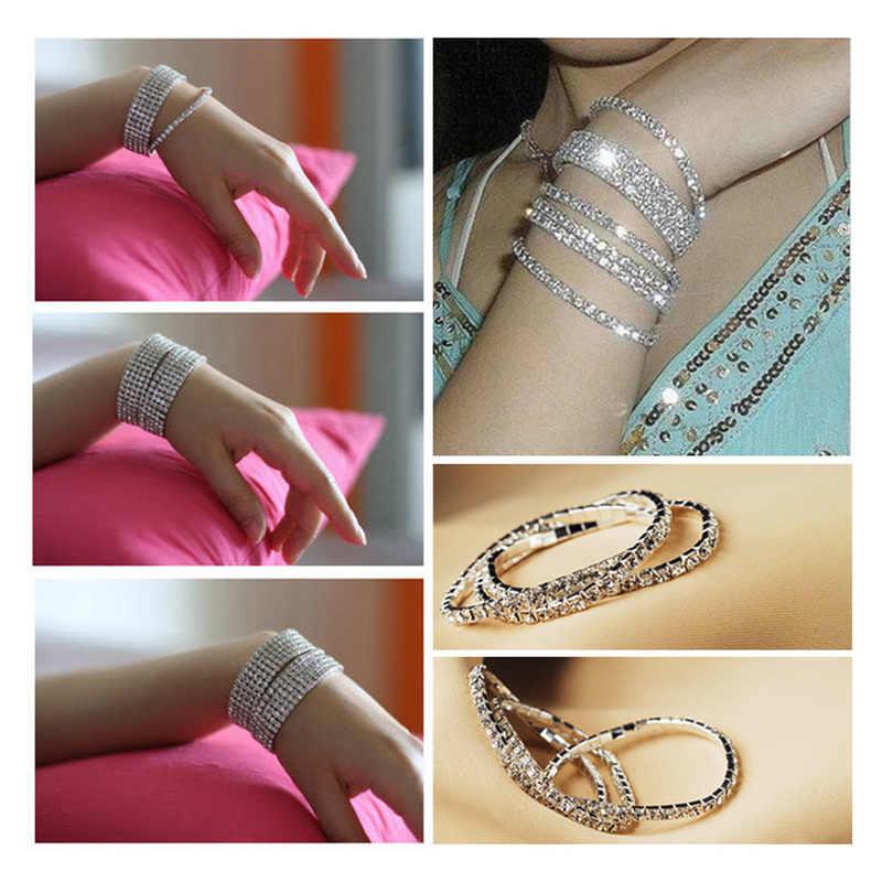 Brazalete de tenis brillante de moda pulsera color plateado claro CZ para mujer Boda nupcial cristal Strand elástico