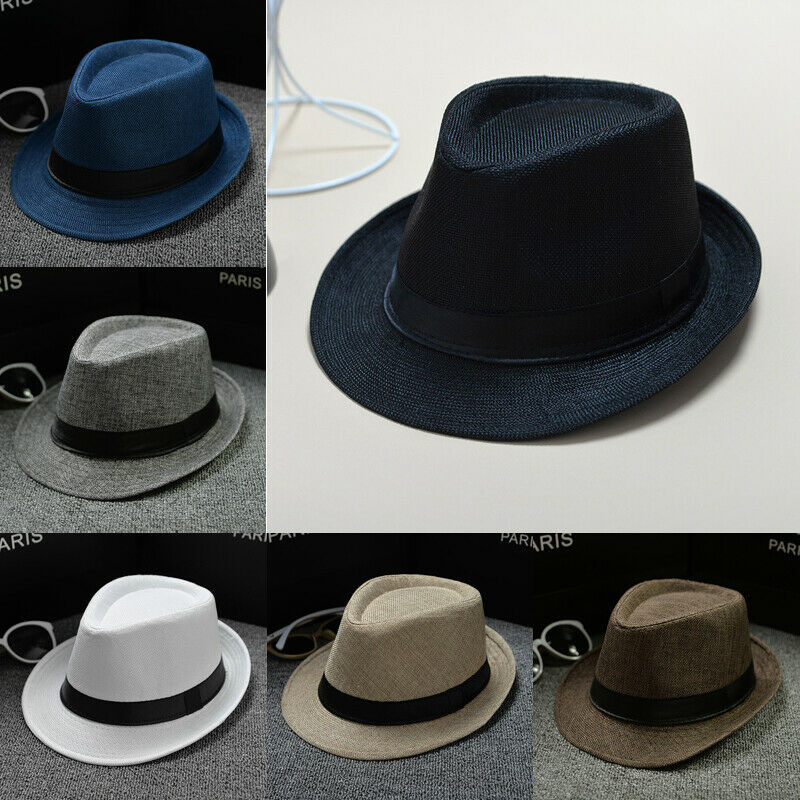 Unisex Straw Fedora Sun Hat Panama Trilby Crushable Mens Lady Foldable Travel With Black Belt Hot Sales Cap Dropshipping