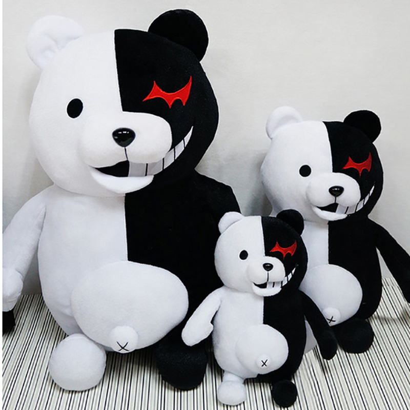 1pcs Super Danganronpa Monokuma Black White Bear Plush Toy Stuffed Dangan Ronpa Animal Dolls Birthday Gift For Children Costume