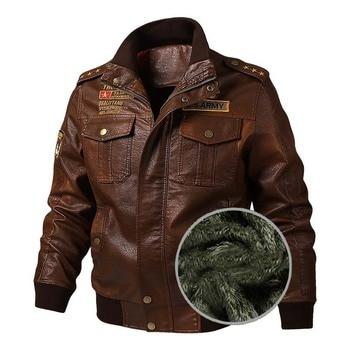 KIOVNO Fashion Men Pu Leather Jackets and Coats Fleece Lined Warm Bomber Jackets Outwear For Male Size M-6XL Windbreak