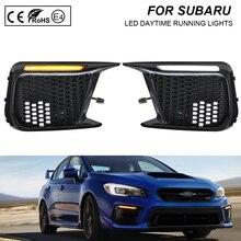2pcs Car Dynamic DRL Waterproof 12V LED Daytime Running Light+Sequential LED Turn Signal Lights For Subaru WRX 2018 2019 2020