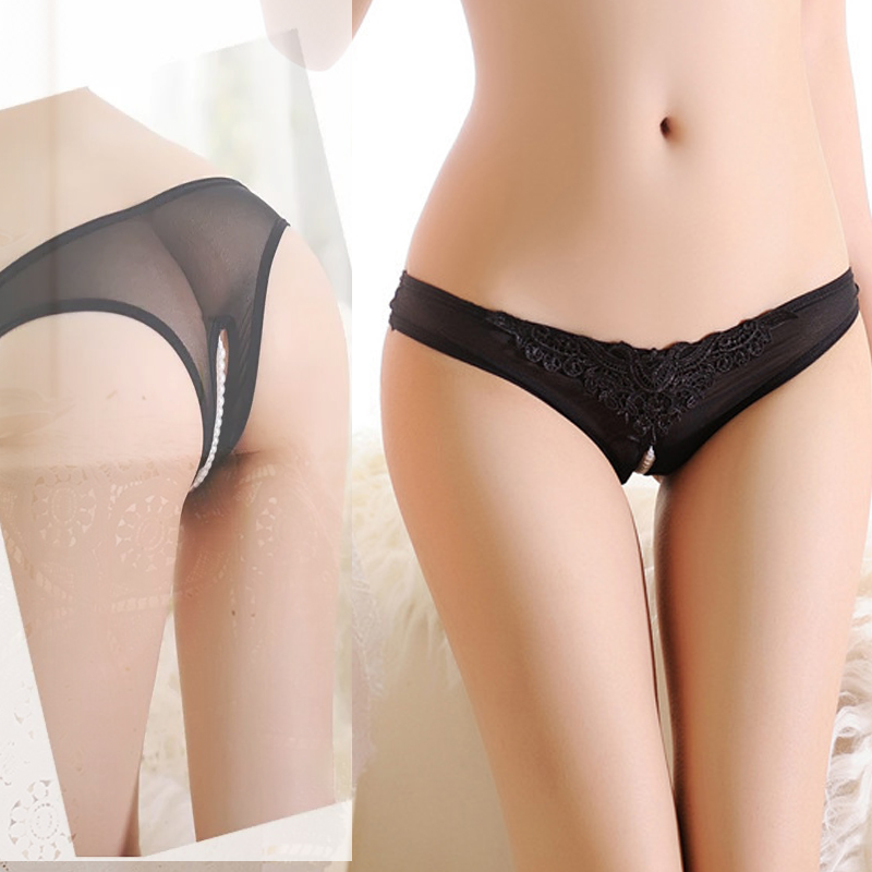 Hot Sex Products Fashion Underwear Women Briefs Pearl Thongs Free Size Women Open Crotch Sexy G String Beads Panties