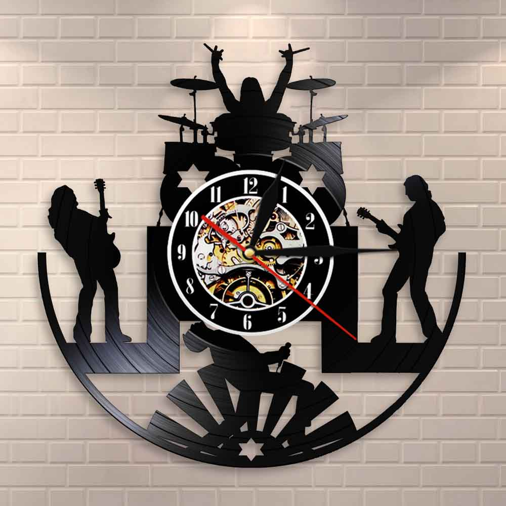 Rock Band Music Group Wall Clock Rock Band Drummer Heavy Metal Group Guitarist Performance Stage Show Vinyl Record Wall Clock