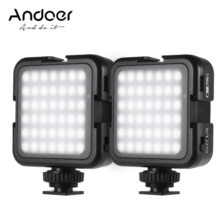 Andoer 42LED 1 pièces/2 pièces LED vidéo lumières froid chaussure montage 6000K couleur température photographie pour Canon Nikon Sony DSLR appareil photo