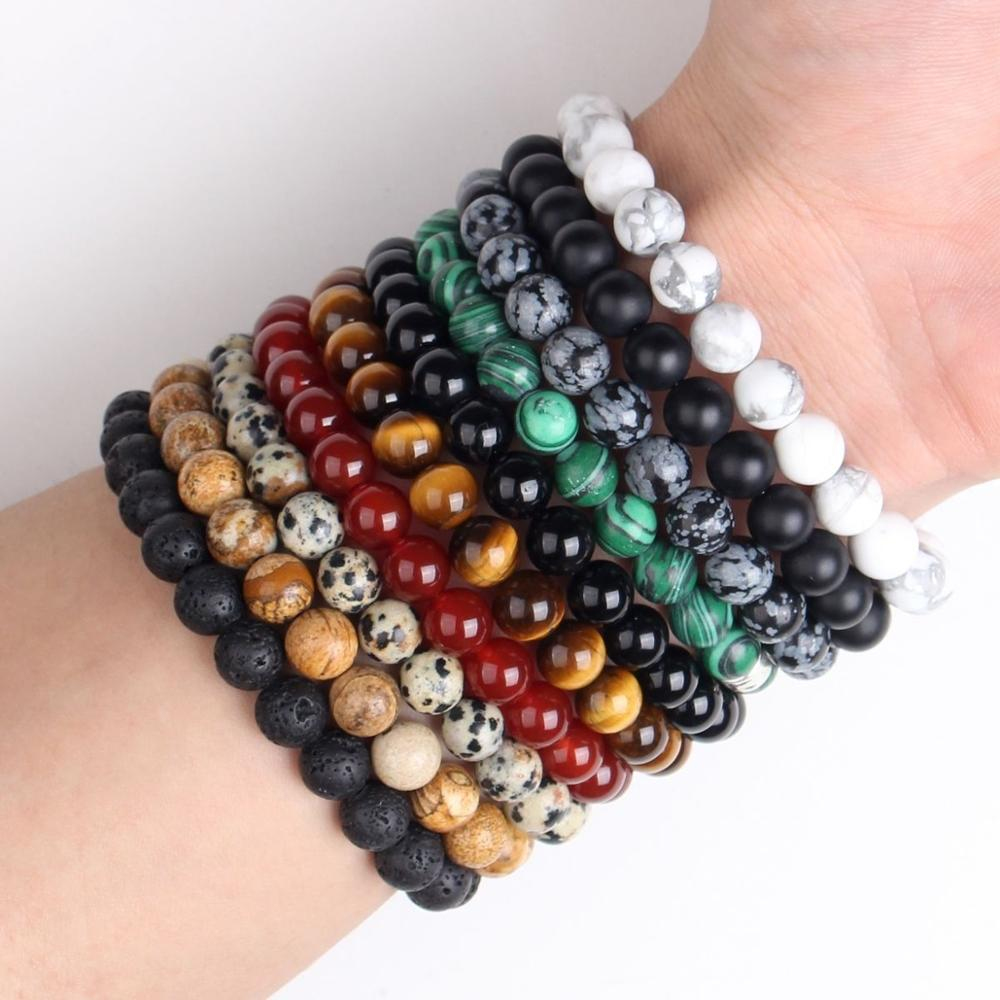 Nature Beaded Bracelet Men 8mm Natural Stone Lava Rock Tiger Eye Black Onyx Matte Healing Beads Stretch Charm Yoga Women Jewelry