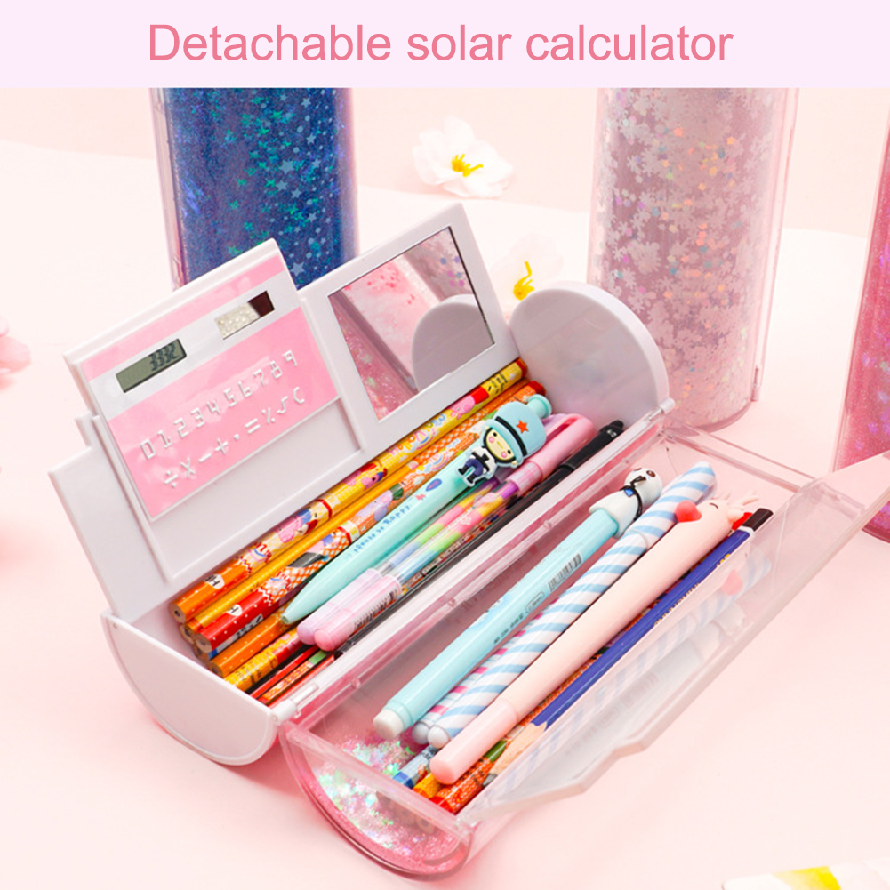 Multifunctional Can Shine Luminous Quicksand Pencil Cases Cool Cute Students To Use Creative Pen Box With Calculator