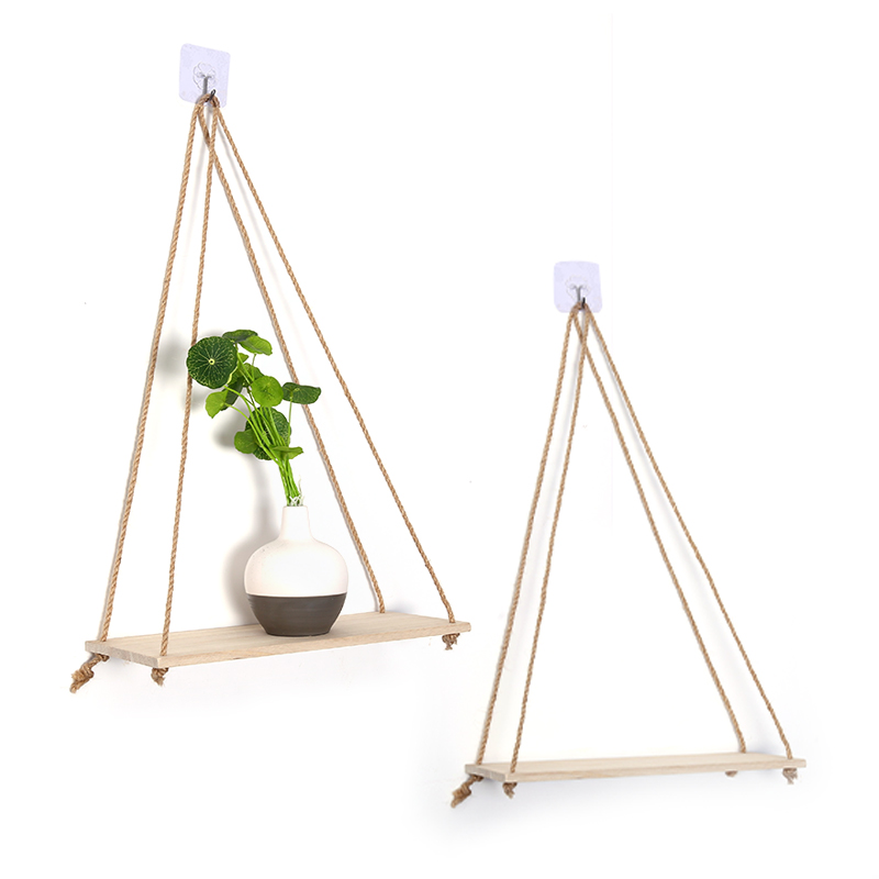 Premium Wood Swing Hanging Rope Wall Mounted Shelves Plant Flower Pot Rack Indoor Outdoor Decoration Nordic Style