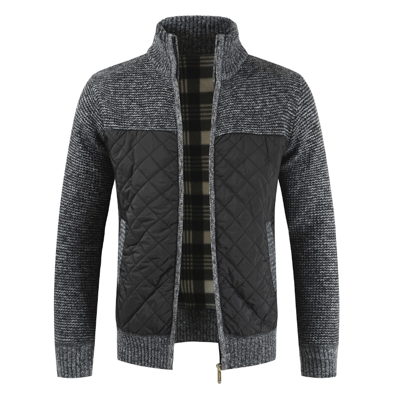 Dropshipping 2019 Autumn Winter Sweater Men Solid Patchwork Thick Fleece Cardigan Men Casual Stand Color Sweater Men Coats