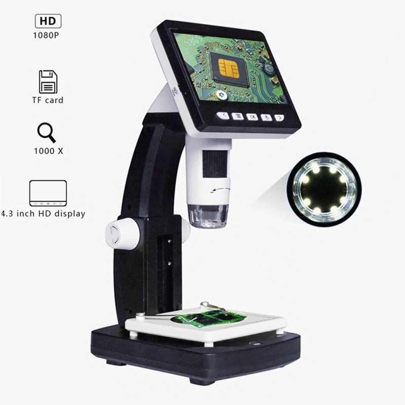 Mutabouret G710 1000X Microscope numérique 4.3 pouces HD 1080P Portable bureau LCD Microscope numérique réglable 10 langues 8 LED
