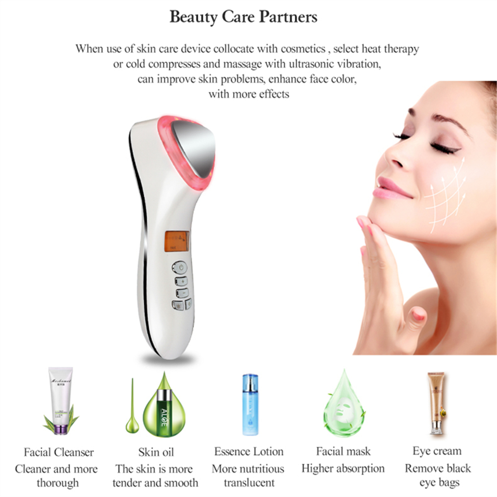 Ultrasonic Cryotherapy Beauty Device LED Hot Cold Hammer Facial Lifting Tightening Vibration Massager Face Body Spa Tools in LED Mask from Beauty Health